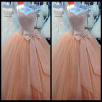 apple peaches - Luxury Quinceanera Dresses Vestidos De Anos Actual Image Spaghetti Straps Peach Beaded Tulle Ball Gown Long Party Prom Dress Gowns Custom