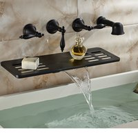 bathroom waterfall shower - And Retail Wall Mounted Bathroom Tub Faucet Oil Rubbed Bronze Waterfall Spout W Soap Dish Holder Hand Shower Sprayer