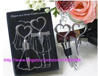 wine opener gift set - 600sets Wine Bottle opener Heart Shaped Great Combination Corkscrew and Stopper Heart Shaped Sets Wedding Favors Gift