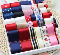 Wholesale Handmade DIY Red white and blue ribbon Bowknot Decoration ribbon Printed ribbon Children Garment Accessories Sewing Tools Ribbon Suit