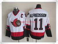 Wholesale ICE Hockey Jerseys Men Ottawa Alfredsson Throwback Vintage White ALL Stitched Mix Order