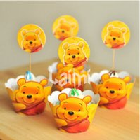 baby shower cake topper - 12X Cupcake Wrappers Winnie The Pooh Bear Series Kid Birthday Party Cup Cake Toppers Picks Decorating Baby Shower