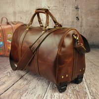 leather duffel bags - 9557 Mans luggage bags man travel bags genuine leather Duffel Bags Sport Outdoor Packs large bags large capacity cowskin leather cowhide