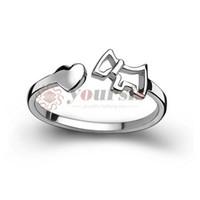 Envío rápido Womens Perro Mascota Abrir los Anillos de la Plata esterlina 925 del Corazón Con Lindo Perro de la Apertura de los Anillos de la Joyería de Plata