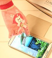 Wholesale 2014 new warm winter touchscreen gloves knitted printed plastic cute bow warm gloves manufacturers