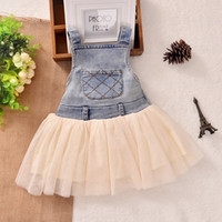 baby suspender - New Children s Clothing Washed Denim Kids Jeans Suspender Dress Lace TUTU Tiered Tulle Strap Dresses Baby Girls s Cowboy Party Dress C1749