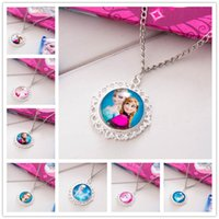 Metal china coats - 10pcs New Arrive Frozen Necklaces Colorful Ribbon Necklace Cartoon Pendants Baby Clothes Girls Dress Sweater Chain Coat China