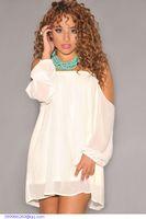 Cheap roupas Women Tops Ivory Off Shoulders Full Sleeves Loose blusa Plus Size long chiffon blouse Women LC21703 camisetas femininas