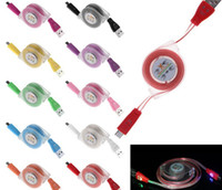 apple retractable charger - Retractable LED Light Charging Cables Colorful Smile Face Micro USB Flat Noodle Charging Cord Data Charger Sync Cable