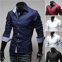 Wholesale 2015 Slim fit shirt with checked buttons mens clothing mens shirts mens clothing navy blue black