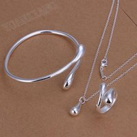 Wholesale fashion jewelry sterling silver necklaces three sets of fine droplets