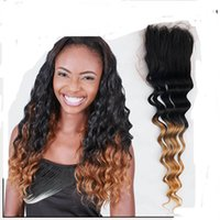 Wholesale Lace Closure Ombre Brazilian Virgin Hair Body Weave Style Three Tone1B Color Fashion Hair Beauty