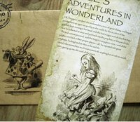 Wholesale Freeshipping set NEW Vintage vintage style Alice s Adventure in Wonderland post card set Greeting Card