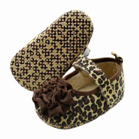 Wholesale Fashion Baby Shoes Crib First Walkers PreWalkers First Walker Brown Leopard Flower Baby Shoes