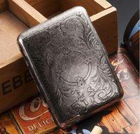 Wholesale 2015 Men Ultra Thin Carving Cigarettes Case Vintage Metal Cigarette Box professional smoking set