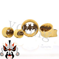 batman plugs - Hot sale beautiful design with high quality bamboo wood plugs and tunnels ear gauges piercing body jewelry batman logo