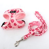 Wholesale Pet Harness Leash Set Dog Cat Leopard Pink Beige Adjustable Cute Collar Safety Control Size S M Outdoor Walking Pink Beige Leopard