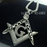 Wholesale Men white gold fiiled Freemasonry Masonic Mason Pendant Free chain necklace N242
