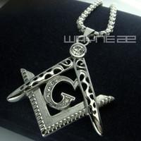american masons - Men white gold fiiled Freemasonry Masonic Mason Pendant Free chain necklace N242