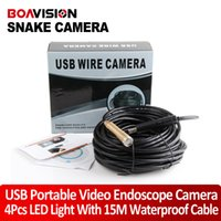 Wholesale 15m USB Cable plumbers snake Wire Tube USB Snake Camera Inspection Cam LED waterproof inspection camera