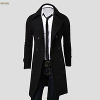beige trenchcoat - Fall Brand Mens Men s Long Trench Coat Winter Long Jacket Double Breasted Overcoat Outerwear Trench Homme Trenchcoat Black Gray DLYP