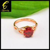 Wholesale K Rose Gold Plated Elegant Jewelry Champagne Clear Red Zircon Ring For Women