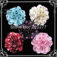 fabric flower pin - CM New satin polka dots flowers silk flower fabric flowers with brooch pin