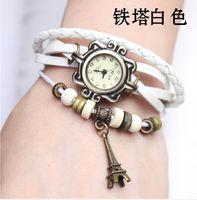 Wholesale Top Quality unisex man and woman Leather Vine Bracelet Watch Wristwatches tower Pendant Retro Watch