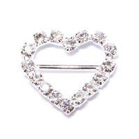 diamante buckles - Hot sell Silver Rhinestone Diamante Heart Ribbon Buckles Ribbon Buckles Sliders