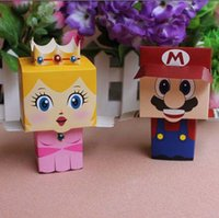 Wholesale 50pcs cartoon Super Marie Bros princess Bride and Groom wedding favors Mario candy box wedding gifts