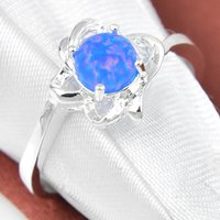 Cheap Wedding Rings 5 Pcs 1 Lot Mother Gift Crystal Blue Fire Opal Gemstone 925 Sterling Silver Ring Russia American Australia Weddings Jewelry