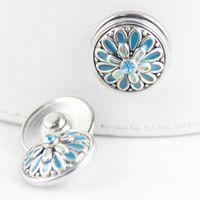 Wholesale OSINNE Fashion MM enamel flower noosa chunks snap armband fit ginger snap leather bracelet for women NAB296