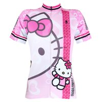 Wholesale Cycling Jersey Women Anime Hello Kitty Pink Cycling Clothing Cartoon High Quality Short Sleeve Cycling Clothes Jersey X1017