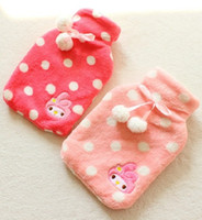 Wholesale Sweet Pink Melody Polka Dots Bow Plush Hot water Bag Hot Water Bottle Cover Retail KCS