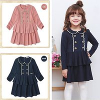Cheap Children's clothes  spring  autumn 2015 Korean girls double-breasted phnom penh cotton long sleeve dress QZ130