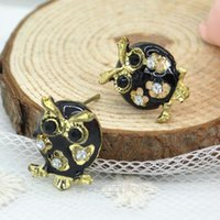 Wholesale 2014 Cute Crystal Black Owl Earrings Ear Stud With Brand New Hot Sale ZMPJ326