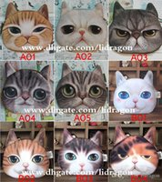 Wholesale Free DHL New Cute Cat Dog Face Zipper Case Coin Purse Wallet Makeup Buggy Bag Pouch
