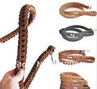 Wholesale hand knitted pet dog genuine leather leash real leather lea for medium large dog