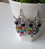 owl earrings - 2015 Best sales Fashion Jewelry Colorful Owl Crystal Silver Fish Hooks Earrings Dangle diamond inlaid style