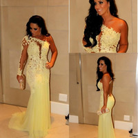 one shoulder black evening dress - 2015 Charming yellow elegant chiffon formal evening dresses red carpet one shoulder lace sweep train long sleeve mermaid prom gowns BO2671