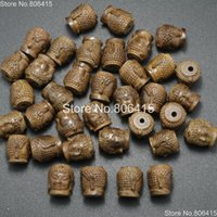 driftwood - Natural Driftwood Wood Carve Buddha Head Bracelet Connector Charm Healing Beads Jewelry Making Spacer Loose x13mm Pack
