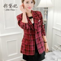 Wholesale 2016 spring new women classic British plaid double breasted suit jacket Slim casual short sleeved suit lapel fashion street