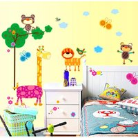 animal mole - bedroom decoration Mole lion cartoon giraffe children s room nursery background removable wall stickers AY9131