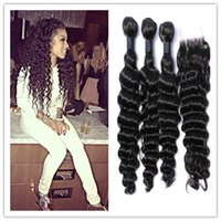 Wholesale 8A unprocessed Malaysian Mongolian Peruvian Indian Brazilian deep wave virgin hair pc free part lace closure with bundles