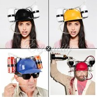 Wholesale High Quality Fashion home Color Cool Unique Party holiday Game Beer Soda Dual Can Holder Straw Drinking Hard Hat Helmet Cap Fun order lt no
