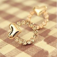 Wholesale 2015 new Fashion Love Heart Stud Earrings Heart shaped crystal earrings for women very Cheap