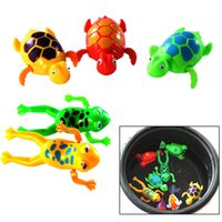 Cheap Wholesale-Cute Funny Clockwork Bath Toys Animals Frog Fish Baby Shower Swimming Pool For Baby Kids Gift Randomly