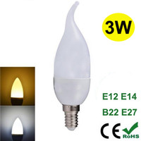 Wholesale 3W LED Candle Bulbs Cree SMD2835 E14 E27 B22 Energy saving LED Chandelier Replacement Bulb Degree Indoor Lighting CE ROHS Approved
