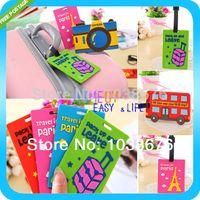 Wholesale NEW Heavy Duty PVC Cute cartoon travel Baggage Luggage tag Bag Tag bus card sets Silica gel products FREESHIPPING