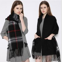 wool blankets - Hot Fashion Blanket Scarf B Shawl Pocket Scarves For Women Wool Cashmere Pashmina Large Thickened Warm Shawl